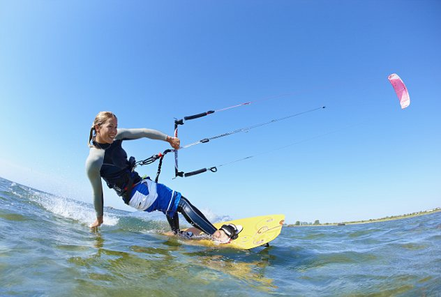 Female kitesurfer