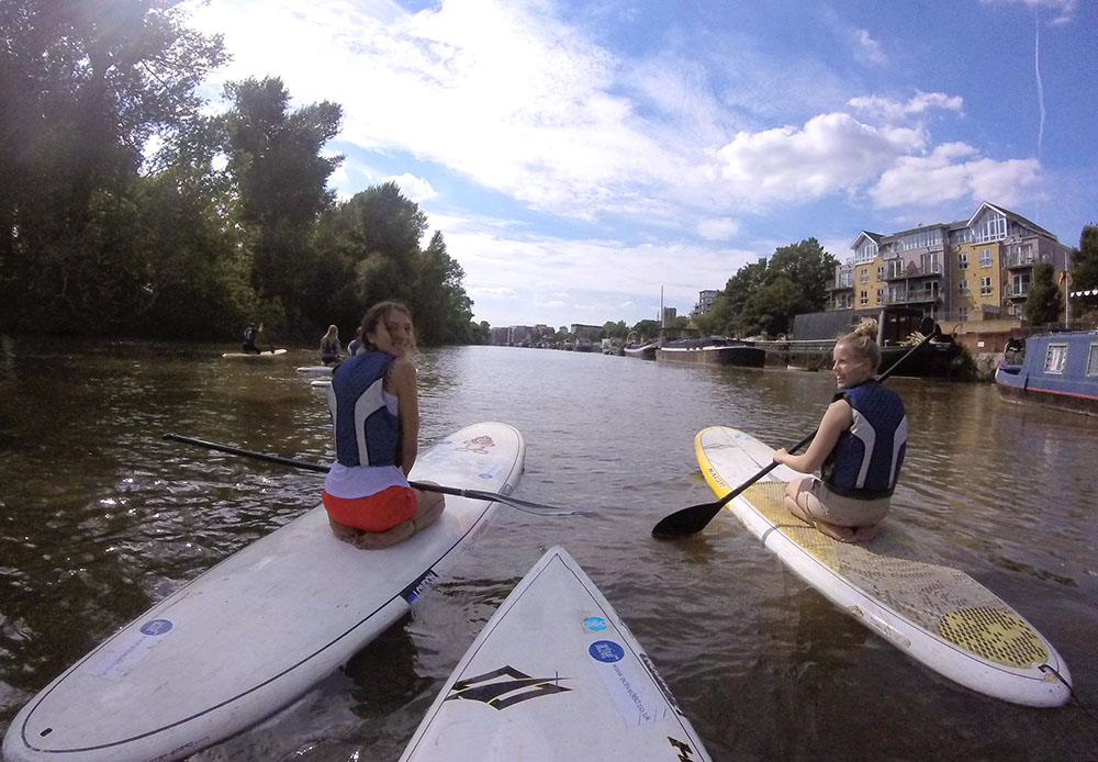 Standup paddleboarding on the Thames