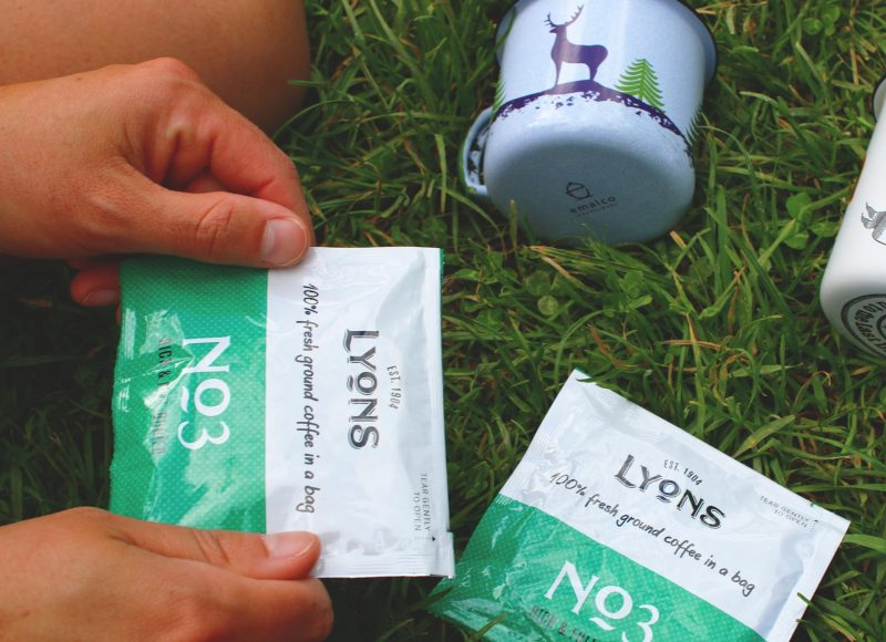 make coffee camping with Lyons coffee bag