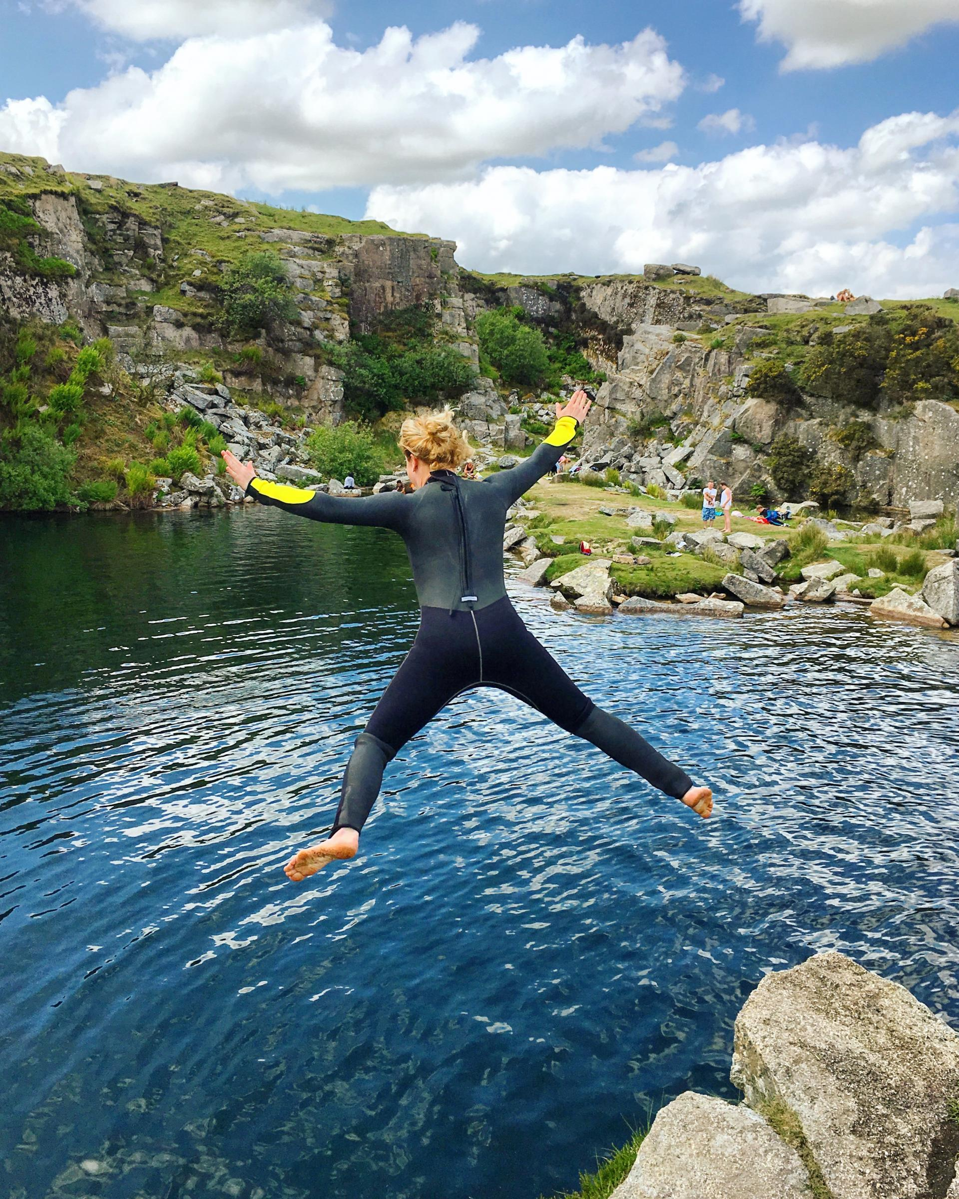 Wild swimming at Goldiggins Quarry, Cornwall