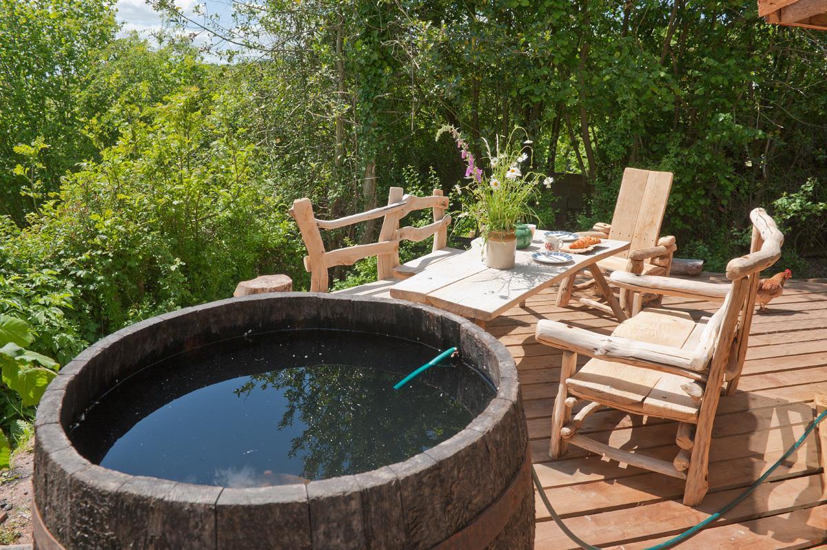 Whiskey barrel hot tub