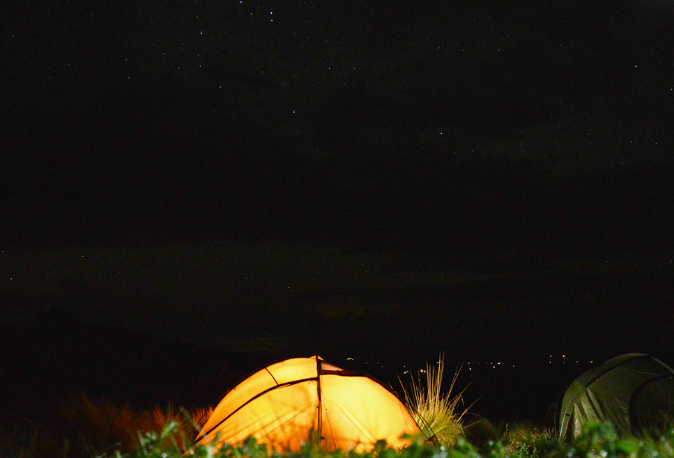 Wild camping at night under stars Sian Lewis